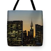 Chrysler And Un Buildings Sunset Tote Bag