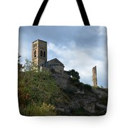 Church And Castle In Puente De Montanana  Tote Bag