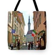 Church At End Of Street In Old Town Tallinn-estonia Tote Bag
