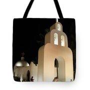 Church At Night In Playa Del Carmen Tote Bag