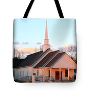 Church At Sunset Tote Bag
