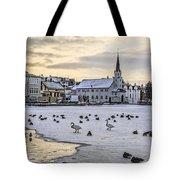 Church By Tjornin Pond Tote Bag