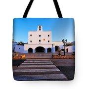 Church In Sant Josep Town On Ibiza Island Tote Bag