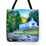 Church In The Mountains By The River Tote Bag