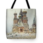 Church Of St. Basil In Moscow Tote Bag