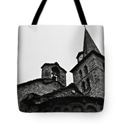 Church Of The Assumption Of Mary In Bossost - Abse And Tower Bw Tote Bag