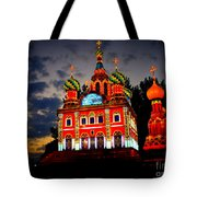 Church Of The Savior On Spilled Blood Lantern At Sunset Tote Bag