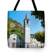 Church On Main Square, Varenna, Lake Tote Bag