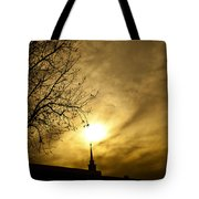 Church Steeple Clouds Parting Tote Bag