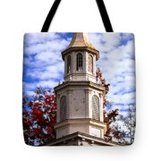 Church Steeple In Autumn Blue Sky Clouds Fine Art Prints As Gift For The Holidays Tote Bag