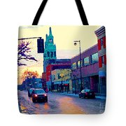 Church Street In Winter Melting Snow Sunset Reflections Montreal Urban City Landscape Scene Cspandau Tote Bag