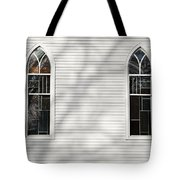 Church Windows With Tree Shadows Tote Bag