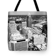 Cincinnati Aerial Skyline Black And White Picture Tote Bag