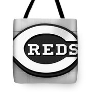 Cincinnati Reds Sign Black And White Picture Tote Bag
