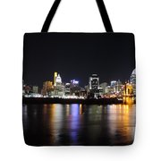 Cincinnati Skyline At Night From Covington Kentucky Tote Bag