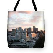 Cincinnati Skyline At Sunset Form The Top Of Mount Adams 2 Tote Bag