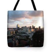 Cincinnati Skyline At Sunset Form The Top Of Mount Adams Tote Bag