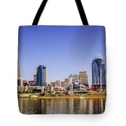 Cincinnati Skyline Riverfront Downtown Office Buildings Tote Bag
