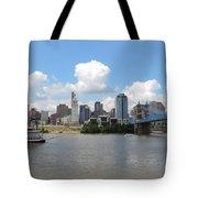 Cincinnati Skyline With A Boat Tote Bag