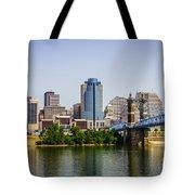 Cincinnati Skyline With Roebling Bridge Tote Bag
