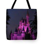 Cinderella Castle Illuminated In Pink Glow Tote Bag