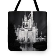 Cinderella's Castle Reflection Black And White Tote Bag