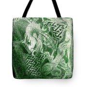 Circa 1900 Samurai Tattoo In Green Tote Bag