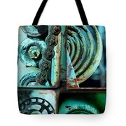 Circle Collage In Blue Tote Bag