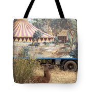 circus circus 2 - A vintage circus wagon with african paint and llama camel  Tote Bag