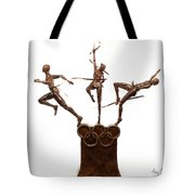 Citius Altius Fortius Oympic Art On White Tote Bag by Adam Long