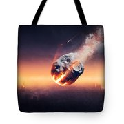 City Destroyed By Meteor Shower Tote Bag