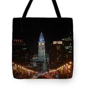 City Hall At Night Tote Bag by Jennifer Ancker