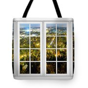 City Lights White Window Frame View Tote Bag