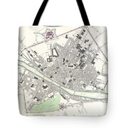 City Map Or Plan Of Florence Or Firenze Tote Bag