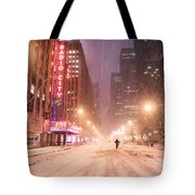 City Night In The Snow - New York City Tote Bag