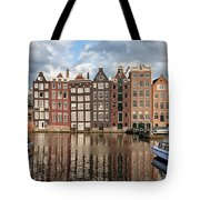 City Of Amsterdam At Sunset In Netherlands Tote Bag