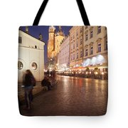 City Of Krakow By Night In Poland Tote Bag