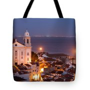 City Of Lisbon In Portugal At Night Tote Bag