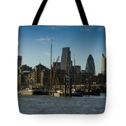 City Of London River Barges Wapping Tote Bag