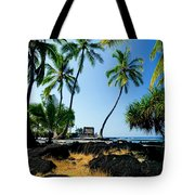 City Of Refuge - A View Of A Hawaiian Traditional House  Tote Bag