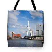 City Of Rotterdam Cityscape In Netherlands Tote Bag