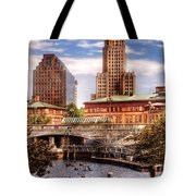 City - Providence Ri - The Skyline Tote Bag by Mike Savad