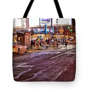 City Scene - Crossing The Street - The Lights Of New York Tote Bag