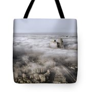 City Skyscrapers Above The Clouds Tote Bag