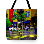 City Street Relections In The Rain Quebec Art Colors And Seasons Montreal Scenes Carole Spandau Tote Bag