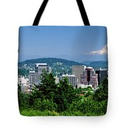 City With Mt. Hood In The Background Tote Bag
