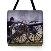 Civil War Reenactor Firing A Revolver Tote Bag