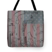 Civil War Revolver American Flag Tote Bag