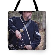 Civil War Union Soldier Reenactor Loading Musket Tote Bag