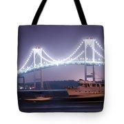 Claiborne Pell Bridge At Night Tote Bag